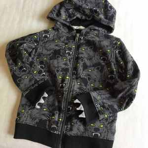 H&M kids 4-6 wolves print cotton hoodie jacket